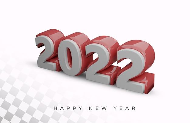 Szczęśliwego nowego roku 2022 pogrubiona liczba wysokiej jakości efekt tekstowy 3d