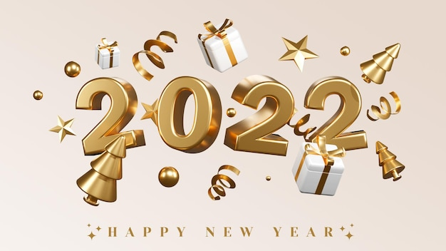 Szczęśliwego nowego roku 2022 z balonami na prezenty i konfetti 3d render ilustracji