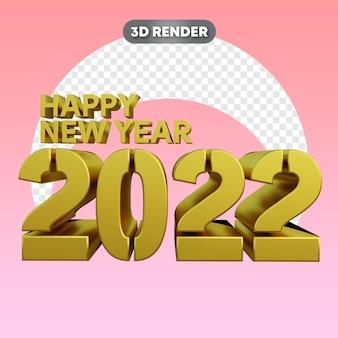 Szczęśliwego nowego roku duży tekst złoty obiekt 3d
