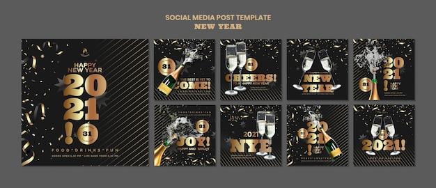 Szczęśliwego nowego roku post w mediach społecznościowych