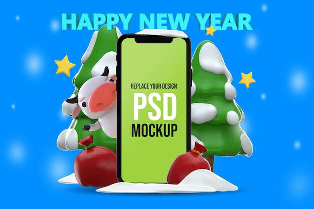 Szczęśliwego nowego roku renderowania 3d mockup design