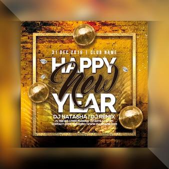 Szczęśliwego nowego roku ulotki strony