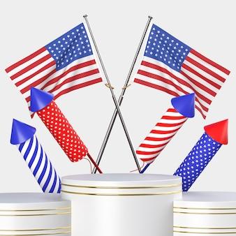 Szczęśliwy 4 lipca dzień niepodległości usa z dekoracją i amerykańską flagą