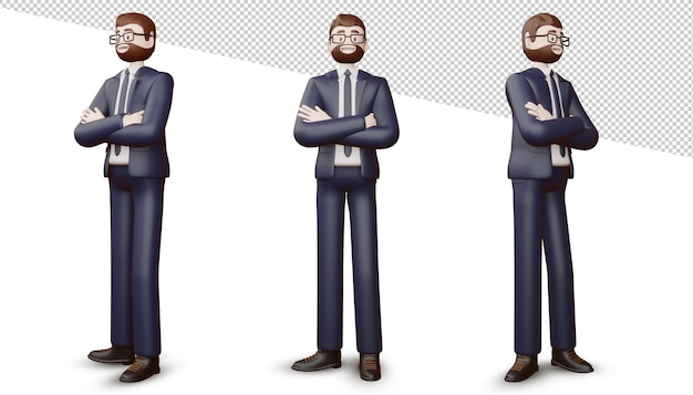 Szczęśliwy biznesmen skrzyżowanymi rękami, renderowania 3d.