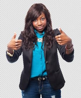 Szczęśliwy czarny kobieta porządku znak