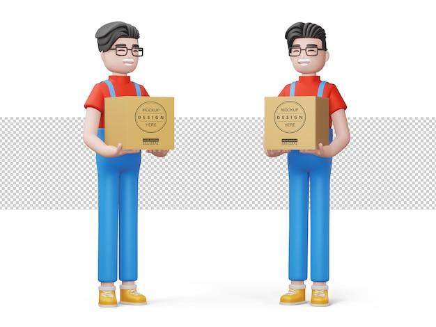 Szczęśliwy człowiek dostawy trzymać pudełko w renderowaniu 3d