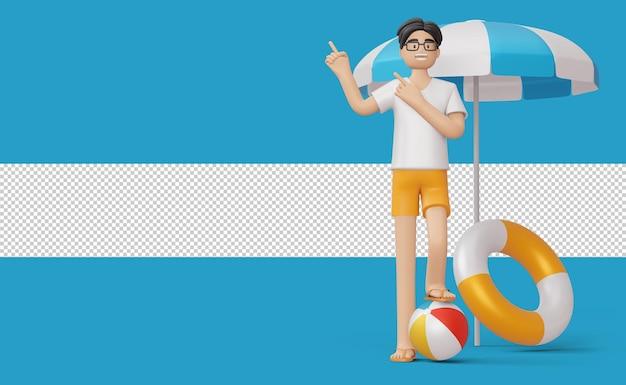 Szczęśliwy człowiek i pierścień pływacki z piłką plażową renderowania 3d
