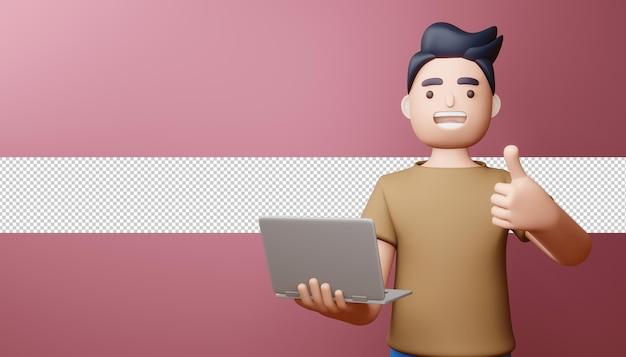 Szczęśliwy człowiek kciuki z renderowania 3d notebooka