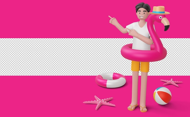 Szczęśliwy człowiek w pierścieniu pływackim flamingo, sezon letni, lato szablon renderowania 3d