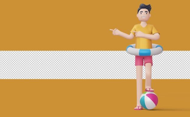 Szczęśliwy człowiek wskazujący palec w pierścieniu pływackim na piłce plażowej renderowania 3d