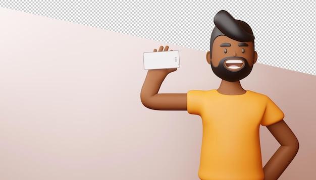 Szczęśliwy człowiek z ekranem telefonu jest puste renderowanie 3d