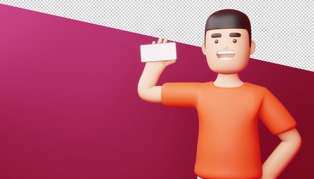 Szczęśliwy człowiek z ekranem telefonu jest pusty, zakupy online, renderowanie 3d.