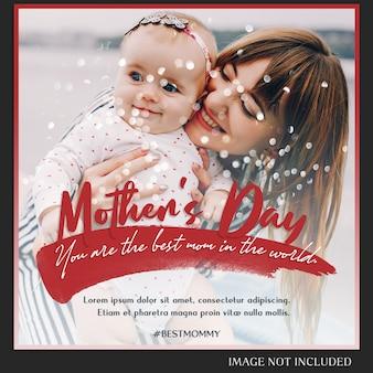 Szczęśliwy dzień matki pozdrowienie instagram post template