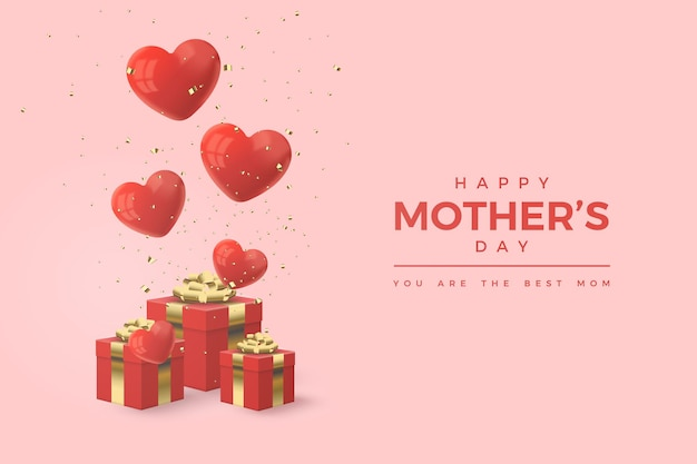 Szczęśliwy dzień matki z ilustracją czerwonych pudełek na prezenty i balonów miłości