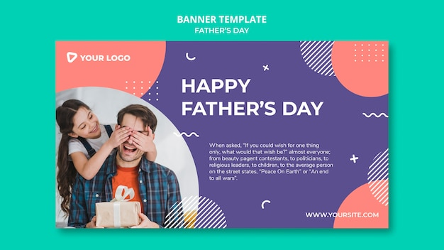 Szczęśliwy dzień ojca koncepcja transparent szablon makieta