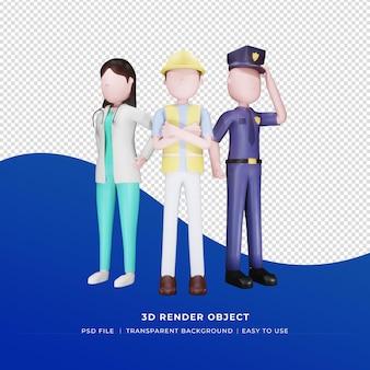 Szczęśliwy dzień pracy szablon mediów społecznościowych z ilustracją postaci 3d