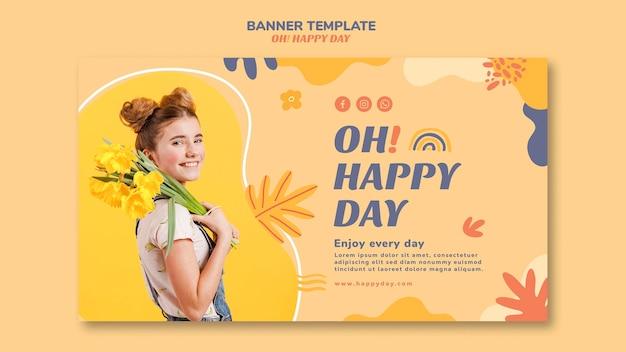Szczęśliwy dzień szablon stylu szablonu transparent
