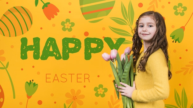 Szczęśliwy dzień wielkanocny makieta z dziewczyną i kwiaty