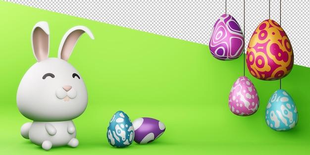 Szczęśliwy dzień wielkanocy ładny króliczek z kolorowym jajkiem renderowania 3d