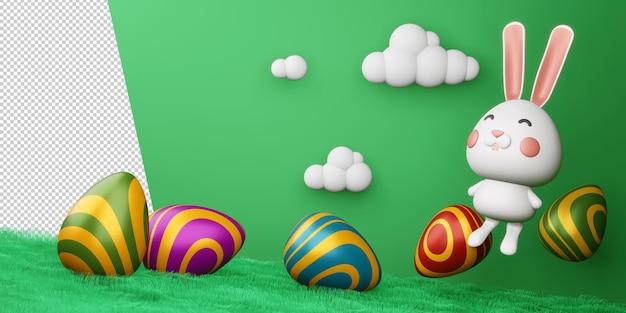 Szczęśliwy Dzień Wielkanocy ładny Króliczek Z Kolorowym Jajkiem Renderowania 3d Premium Psd