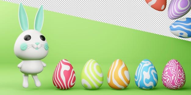 Szczęśliwy dzień wielkanocy z cute zajączek z kolorowym jajkiem w renderowaniu 3d