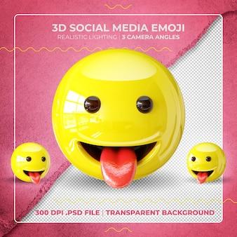 Szczęśliwy emoji 3d na białym tle pokazując język