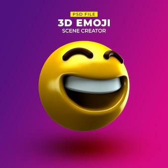 Szczęśliwy emoji 3d z szeroko uśmiechniętą twarzą i roześmianymi oczami