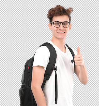 Szczęśliwy młody uczeń z gestem ok