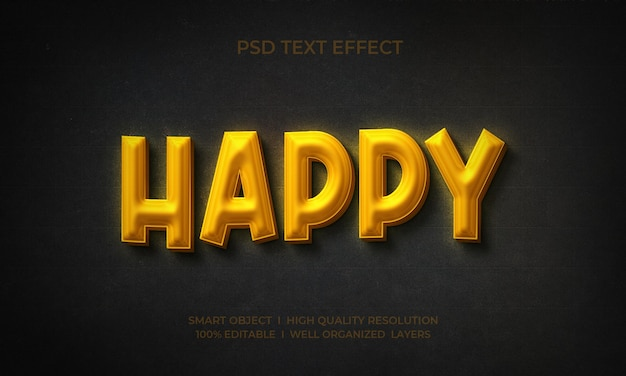 Szczęśliwy styl tekstu 3d ze złotym efektem