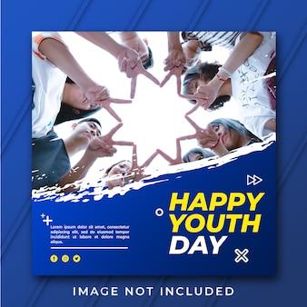 Szczęśliwy szablon banera na dzień młodzieży