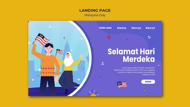 Szczęśliwy szablon strony daylanding w malezji