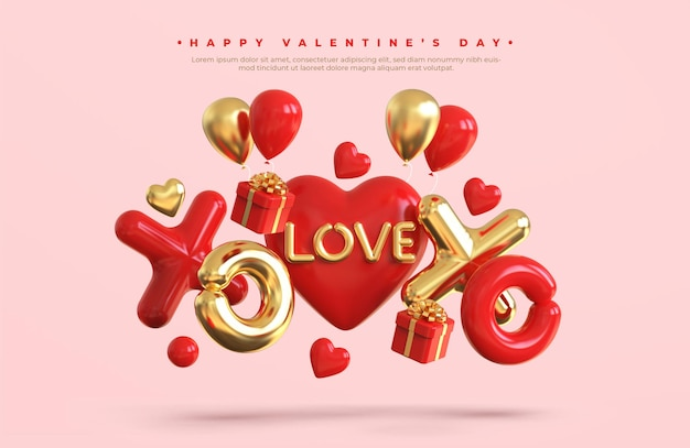 Szczęśliwy transparent walentynki z romantyczną kompozycją kreatywną 3d