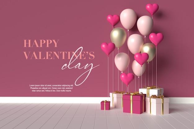 Szczęśliwych walentynek scena z prezentami i balonami