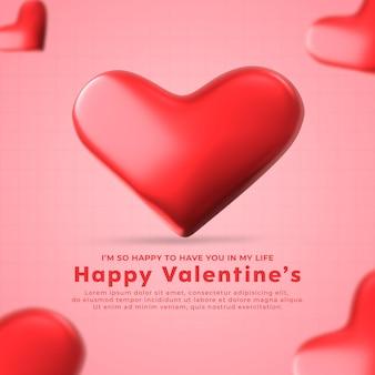 Szczęśliwych walentynek szablon mediów społecznościowych z 3d renderowanym kształtem serca premium psd