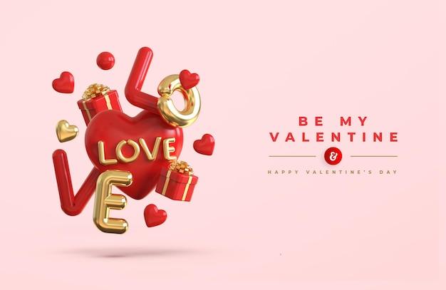Szczęśliwych walentynek z romantyczną kompozycją kreatywną 3d
