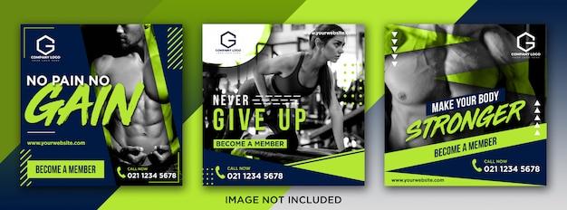 Szeroki fitness media społeczne pocztowy