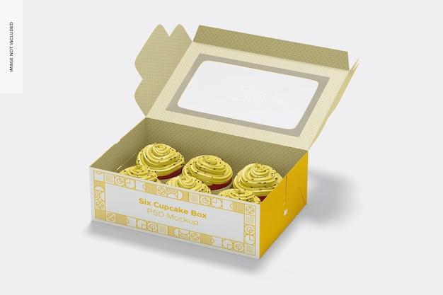Sześć makiet w pudełku z babeczkami, otwarte