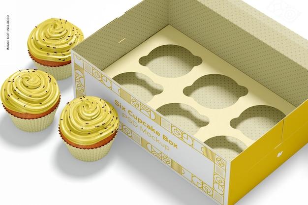 Sześć makiet w pudełku z babeczkami, widok z prawej strony