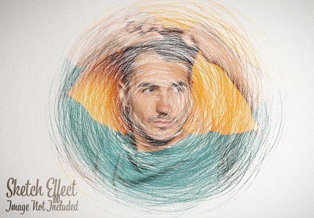 Szkic rysunkowy efekt fotograficzny z makietą bazgrołów