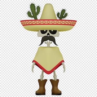 Szkielet 3d w poncho i sombrero koncepcja wakacji el da de muertos na białym tle ilustracja 3d
