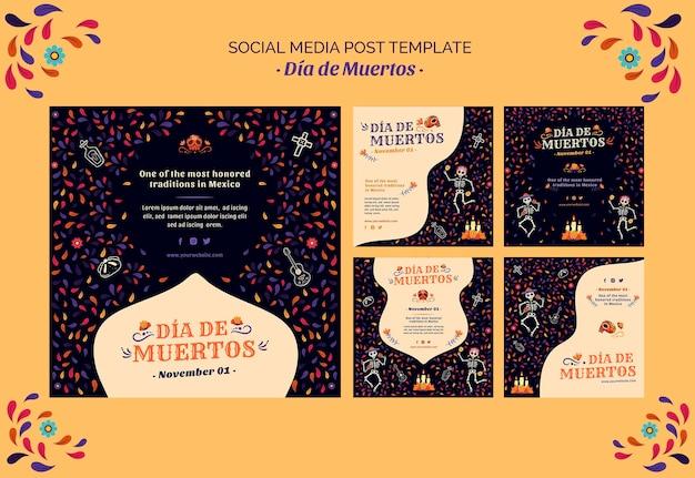 Szkielet i konfetti dia de muertos post w mediach społecznościowych