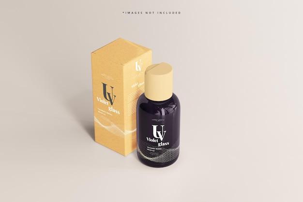 Szklana butelka kosmetyczna uv i makieta pudełek