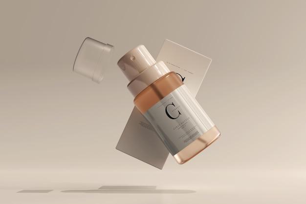 Szklana butelka kosmetyczna z rozpylaczem z makietą pudełka