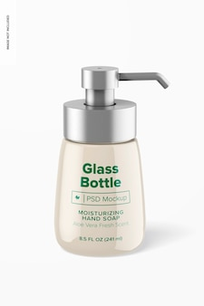 Szklana butelka o pojemności 8,4 uncji z makietą pompy, widok z przodu
