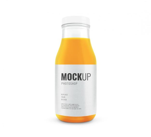 Szklana butelka z makietą soku pomarańczowego