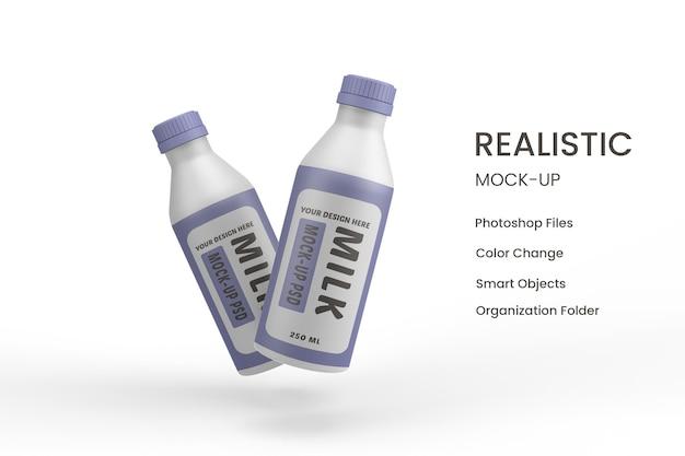 Szklane butelki z projektem makiety etykiet