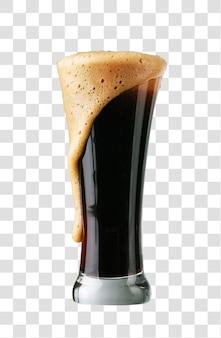 Szklanka ciemnego piwa z pianką, warstwowy plik psd