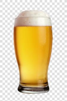 Szklanka piwa z bliska z pianką. przestarzały plik psd