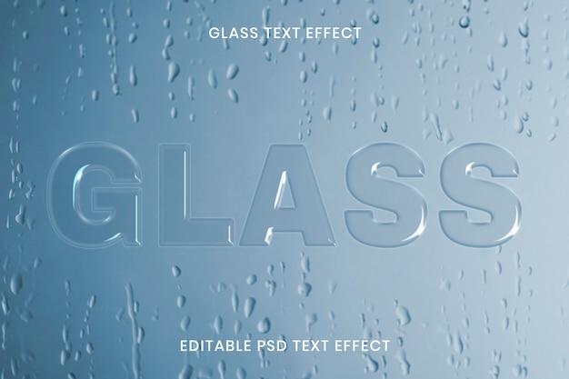 Szklany efekt tekstowy psd edytowalny szablon