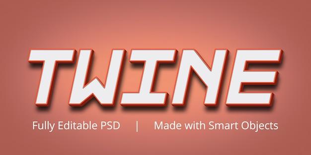 Sznurkowy edytowalny efekt stylu tekstu w programie photoshop